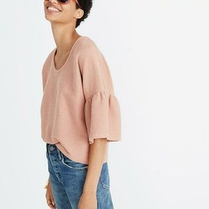 Madewell texture and threat gathered sleeve crop